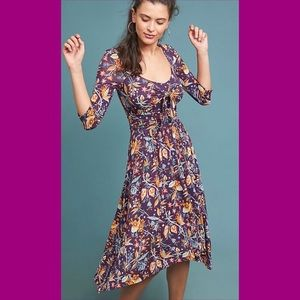 Anthropologie Purple Floral Dress NWT Small